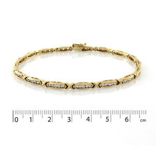 9ct Yellow Gold White CZ Bracelet.