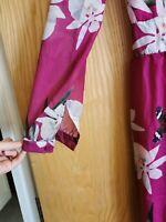 Plum Purple Pink Green Floral Pattern Maxi Dress Wedding Guest Garden Party 8 10