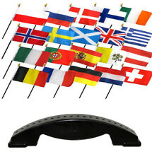 4x6 European Europe Country 20 Desk Set Table Stick Flags w/ 20 Hole Base Stand