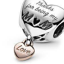 Pandora Charm 788830C00 Love You Mum Heart  ALE S925