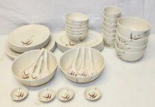 44 Pc. Tong Ya Bamboo Pattern Melamine Ware Dish Set / Melmac / Retro Tableware