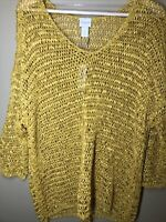 Chicos 3 XL NWT Gold Textured Pullover Lightweight Shirt Open Ribbon Weave