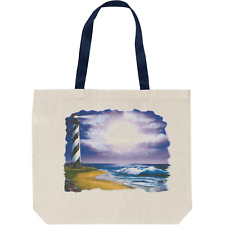 Tote Bag Reusable Shopping Craft Cotton Country Lighthouse Cape Cod Moon Ocean