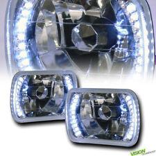 7X6 Crystal Chrome Glass Lens White Led Headlights Lamps H4 H6052 H6054 H6014 V1