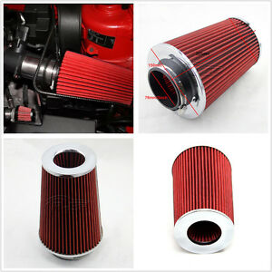 3'' Inlet Car SUV Long Ram Cold Air Intake Filter Cone Filter Red  KN Types Tool