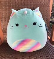 "Squishmallow KellyToy 16"" Nicole The Aqua Caticorn SuperSoft Cuddly Plush Pillow"