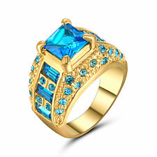 Size 9 Aquamarine Sapphire CZ 10kT Yellow Gold Filled Wedding/Engagement Ring