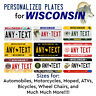 Wisconsin Personalized Custom License Plate Tag for Auto Car Bicycle ATV Bike