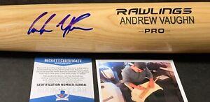 Andrew Vaughn Chicago White Sox Signed Engraved Bat Beckett Witness COA Blonde 1