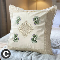 """TWO PACK Luxury Cream Ivory Crochet Lace 17"""" Cushion Cover Cotton Floral Thistle"""