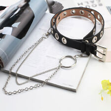 Women Punk PU Leather Belt with Rivet Studded Single Grommet Holes Waist Chain