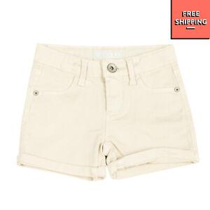 GUESS Shorts Size 2Y Light Beige Garment Dye Logo Zip Fly Turn Up Cuffs