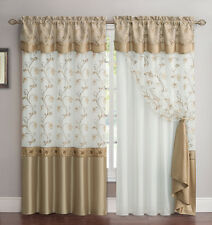 All-in-One Gold and White Window Curtain Drapery Panel: Double-Layer,Embroidered