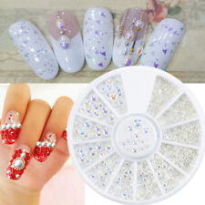 New White Pearl Nail Art Stone Different Size Wheel Rhinestones Beads