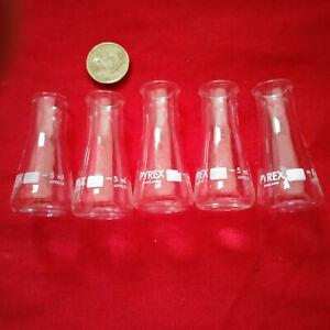 5 X Erlenmeyer flasks narrow neck 5 ml Pyrex