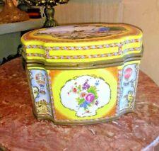 Vintage Huge Bronze and Porcelain Old Paris Jewelry Box.