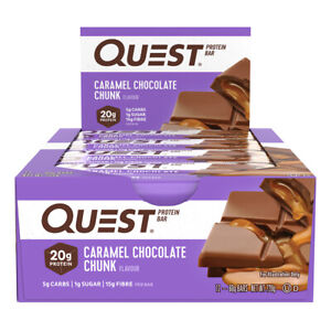 12pc Quest 60g High Protein Bar Healthy Snack Diet Treat Caramel Chocolate Chunk