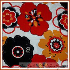 BonEful Fabric FQ Cotton Quilt VTG White Black B&W Red Orange Large Flower Dot L