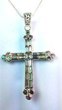 AB Piedra / Arco iris de color brillante Collar De Cruz