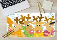 3D Snowflake Scarf Deer Antlers G709 Christmas Non-slip Desk Mat Keyboard Pad Am