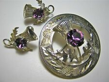 Fine Ward Brothers Scottish Thistle Pin & Earrings- Sterling & Faux Amethyst