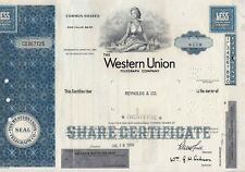 Stock certificate Western Union Delaware  Less Than 100 shares