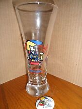 1987 SPUDS MacKENSIE   BEER GLASS  and Promo BUTTON