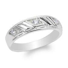 Womens 10K White Gold Round CZ Pattern Wedding Band Ring Size 4-10