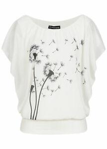 B18067809 Violet Damen Shirt Chiffon Top Fledermausärmel Pusteblumen Print weiß