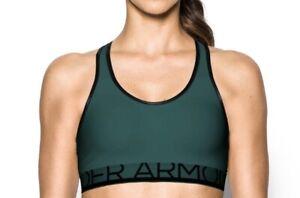 NWT Women's Under Armour Medium-Impact Dark Green Sports Bra XS,S MSRP $34.99