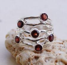 Silberring 56 Granat Rubinrot Handarbeit Silber Ring Wrap Design Modern Massiv