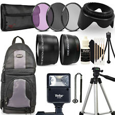 "15 PC 58mm Kit  for Canon Rebel T3i T5i T6i T6s 80D 77D 50"" Tripod + Backpack"