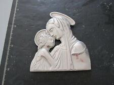 VINTAGE - PLACCA MADONNA CON BAMBINO color argento 12x14 cm