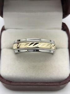 Men's Stainless Steel & 10k Yellow Gold Diamond Cut Wedding Band 7mm Size 12.25
