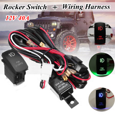 12V LED Fog Light Laser Rocker On/Off Switch Wiring Harness Kit 40A Relay Fuse ~