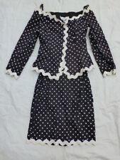 Vintage Womens Lillie Rubin Skirt Suit Set Black/White Polka Dot Size 6 #V214