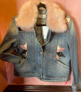 NWT Coach Quilted Patchwork Denim Jacket Pink Shearling Collar $795 Italy sz 10