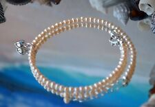Seashell Pink Pearl & Heart Charm + .925 Silver ~ Bracelet or Anklet 9-10 Inches
