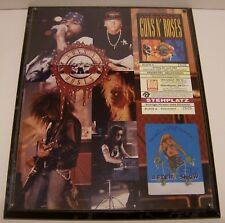 """Guns N' Roses """"Use your Illusion"""" World Tour 1993 Plaque w/ German Ticket & Pass"""