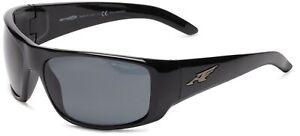 Arnette Men's AN4179 La Pistola Wrap Sunglasses, Black/Polarized Grey, 55 mm