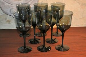 """Lot of 8 Smoked Glass - Modern Wine Glasses - Approximately 8"""" tall"""