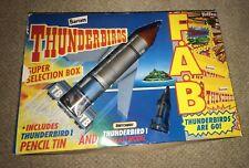 Thunderbirds Super Selection Box Thunderbird 1, Pencil Tin, and Unused Sweets