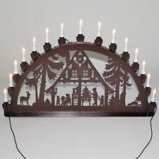 Schwibbogen Lichterbogen Metall Waldhaus Weihnachten XL Außen kupfer-antik groß