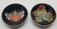Vtg Antique Handpainted Moth & Clown Metal Sauce Incense Bowl Set Asian Style