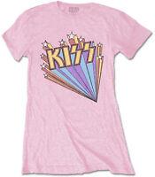 KISS Stars Band Logo PINK WOMENS GIRLIE T-SHIRT OFFICIAL MERCHANDISE