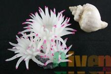 Aquarium Fish Tank Silicone Sea Anemone Artificial Coral Ornament SH220S white