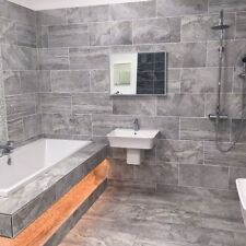 Grey Large Bathroom Porcelain Matt Tile Wall Floor Orlando Argenta 60 x 30 cm
