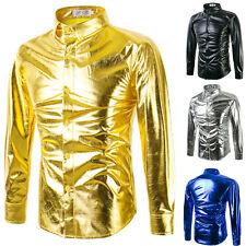 New Fashion Men's Casual Shiny Slim Fit Luxury Long Sleeve Glitter T-Shirts Tops