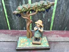 Vintage Club No. 4 ANRI Wooden Figure Girl w Backpack & Tree Display Base Stand