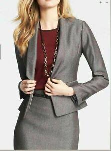 NWT $169 Ann Taylor Fine Tweed Brown women's career Jacket Blazer Top Sz 8P, 12